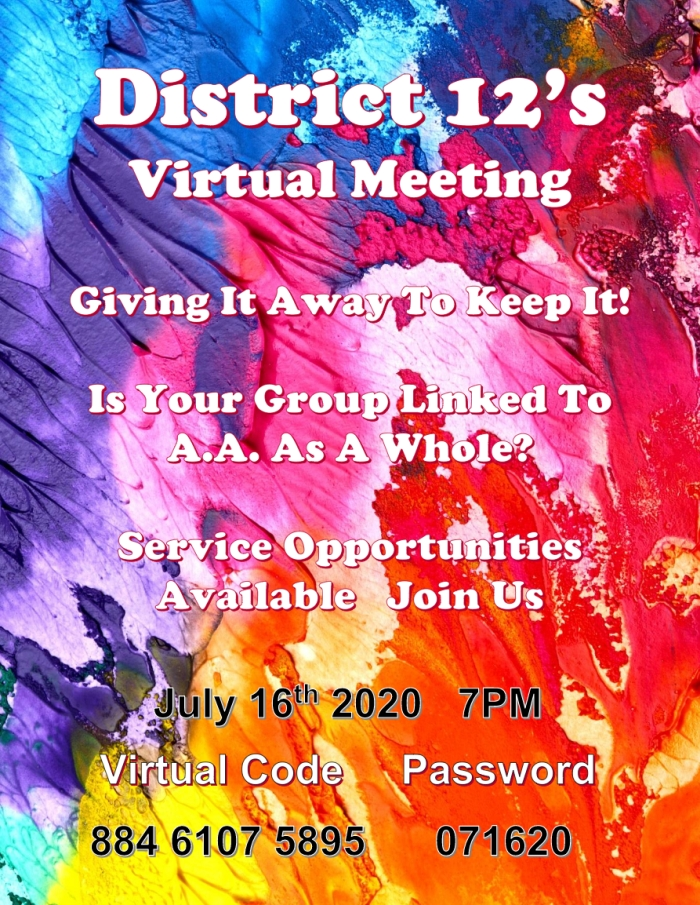 District 12 Virtual Meeting July 16th 2020 at 7pm on Zoom