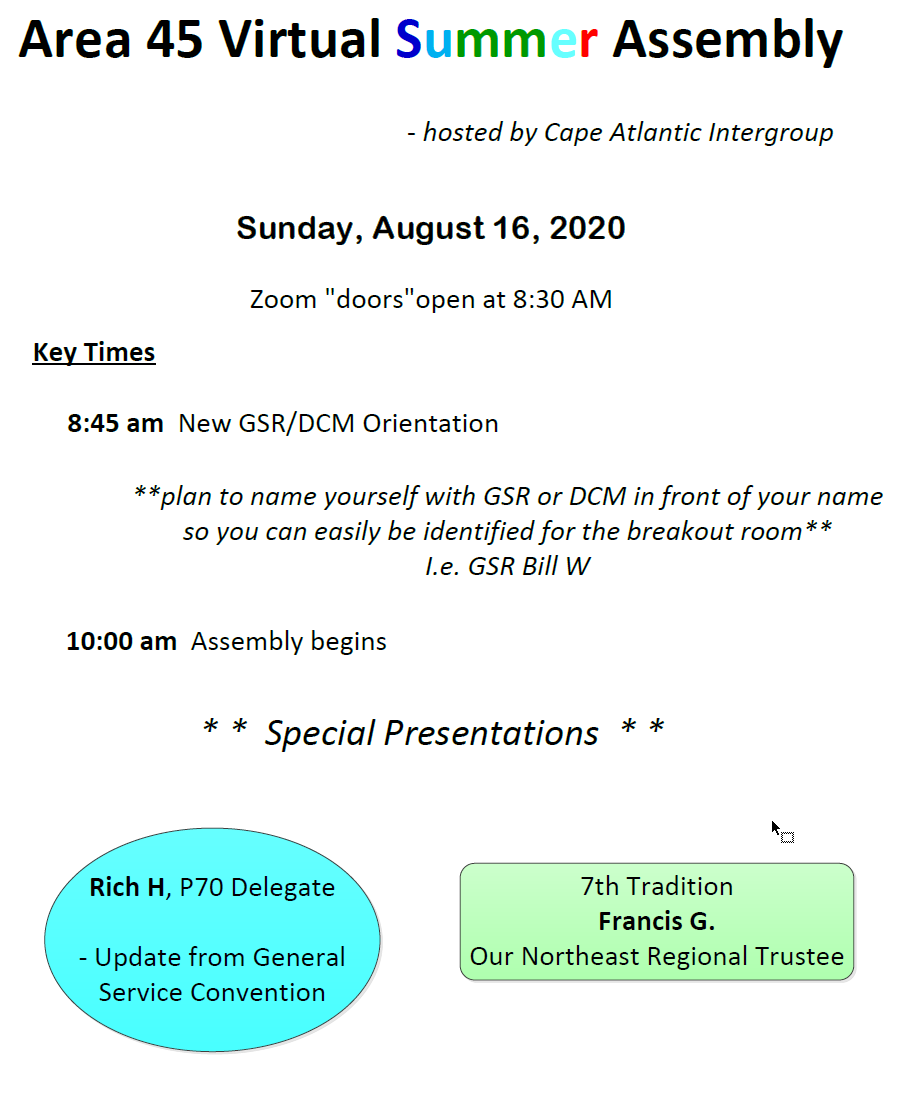Area 45 Virtual Summer Assembly is Sunday, August 16, 2020 at 8:30 AM