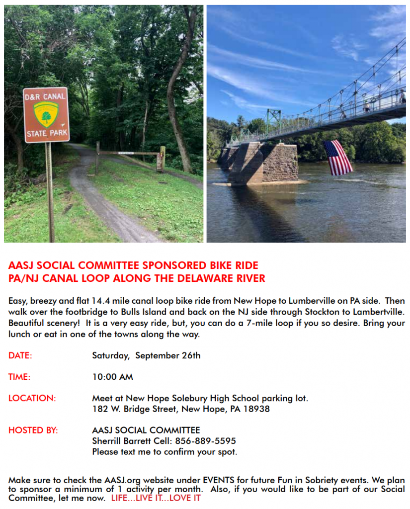AASJ Social Committee Sponsored Bike Ride PA/NJ Canal Loop Along The Delaware River, Saturday September 26th at 10am